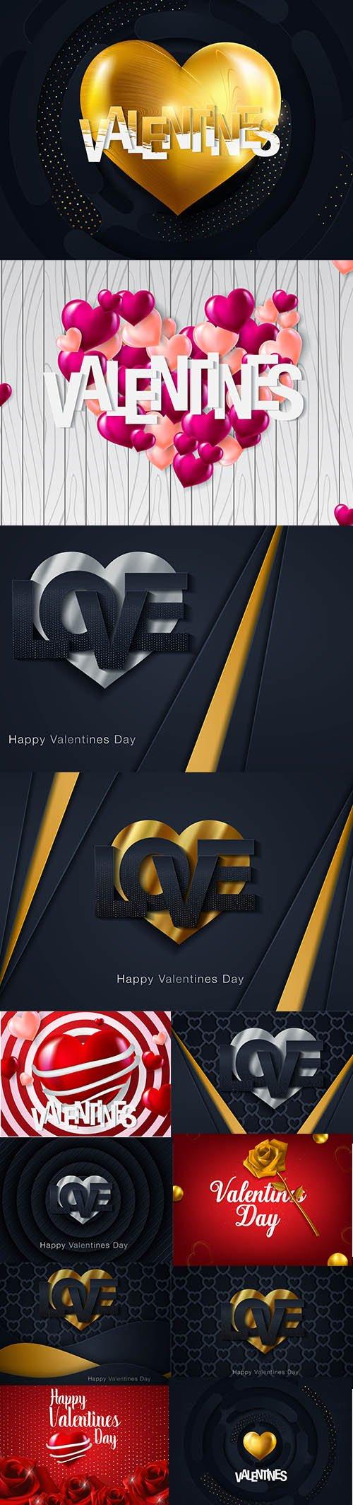 Set of Romantic Valentines Day Illustrations Vol 12