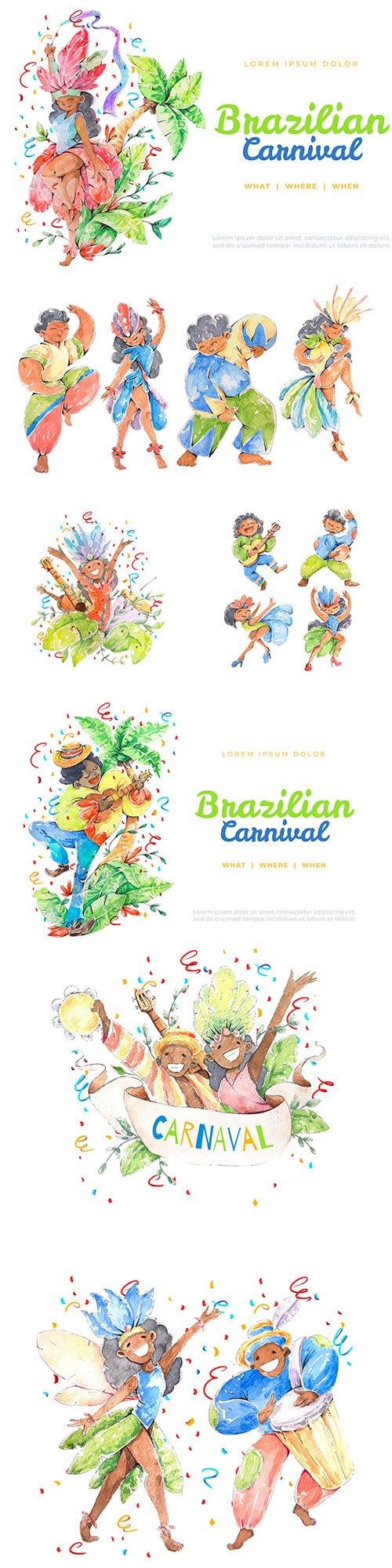 Brazilian carnival dancing watercolor illustrations
