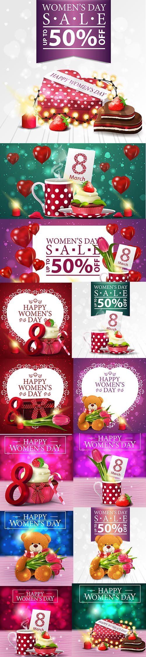 Set of Womens Day Sale Illustrations