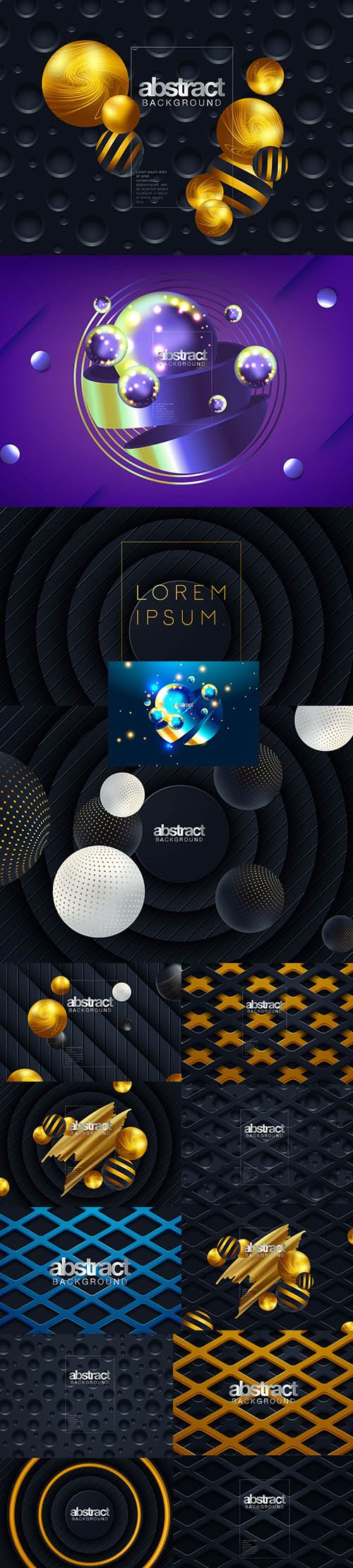 Abstract 3D Colorful Geometric Background Set
