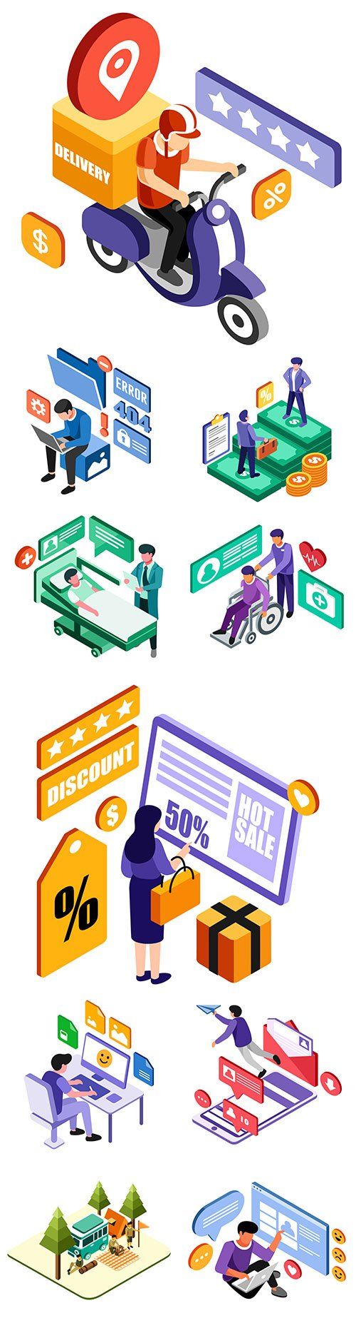 People and internet technology 3d isometric design