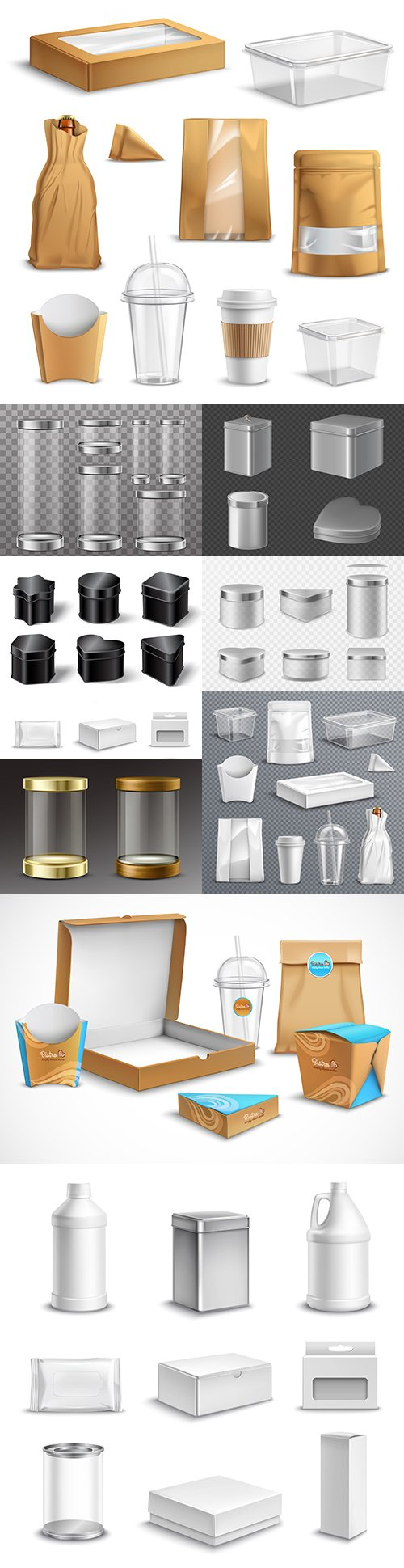 Food packaging and glass jars realistic kit