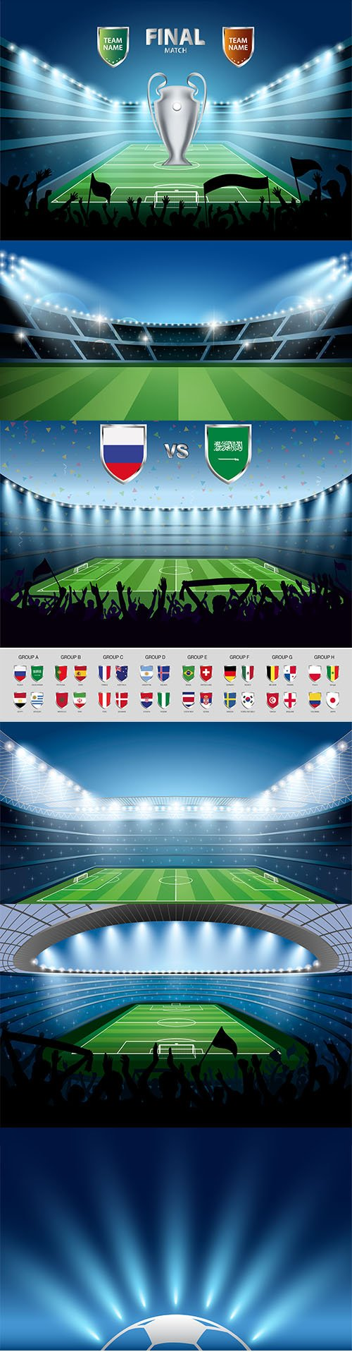 Set of Soccer Stadium Illustrations