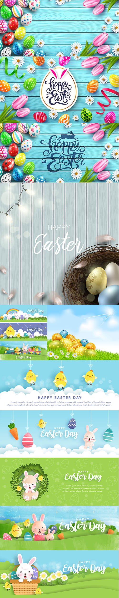 Happy Easter Luxury Backgrounds Template Vector Set Vol 2