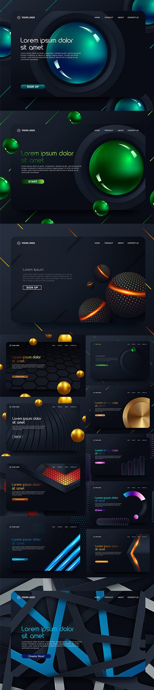 Landing Page Website Template Design Set