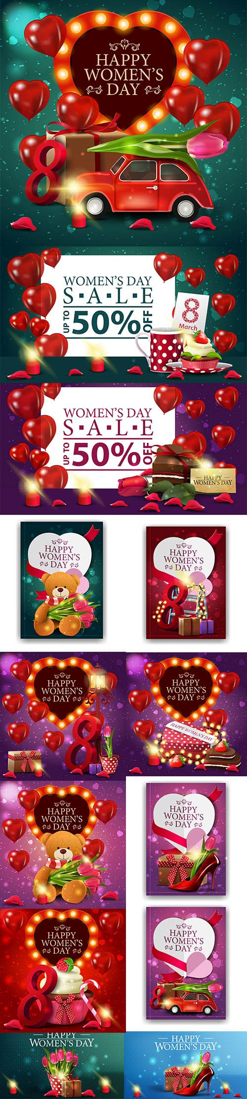 Set of Womens Day Sale Illustrations Vol 2