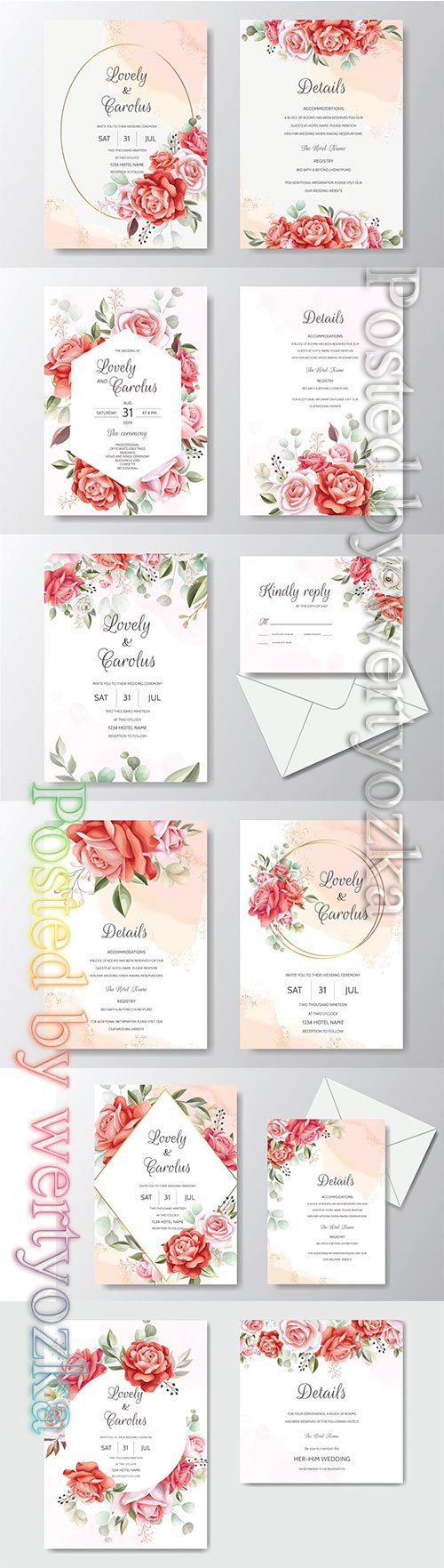 Beautiful floral wreath wedding invitation card template # 5