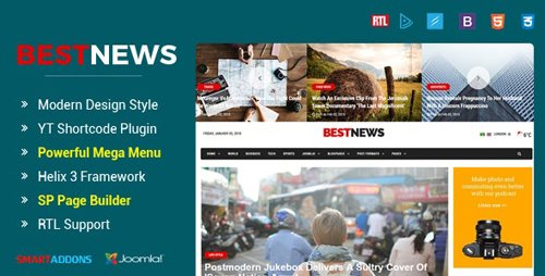 ThemeForest - BestNews v3.9.6 - Ultimate Drag & Drop News & Magazine Joomla Template - 21283983