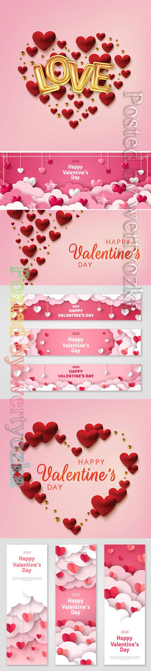 Valentines day vector background with heart # 7