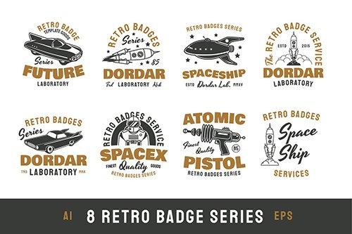 8 Retro / Vintage Badges
