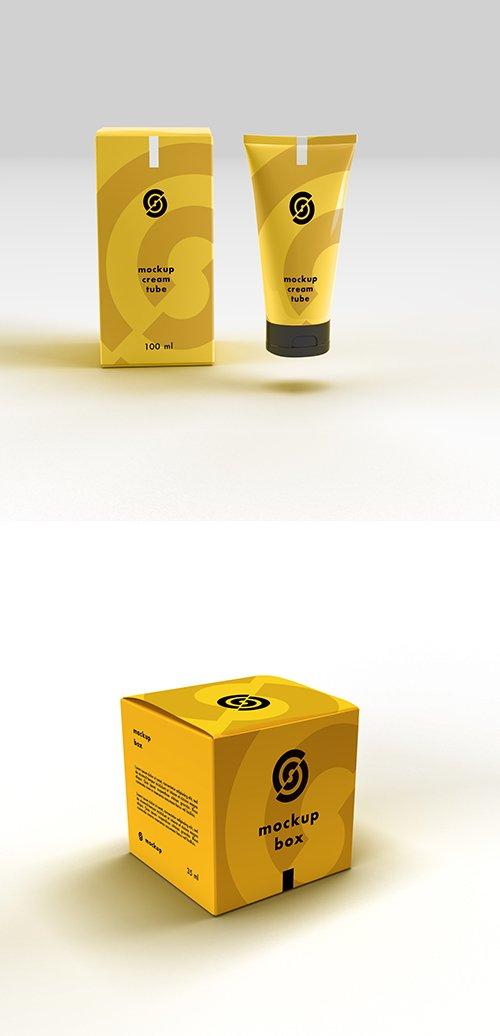 Cosmetic Tube and Cube Box Mockup