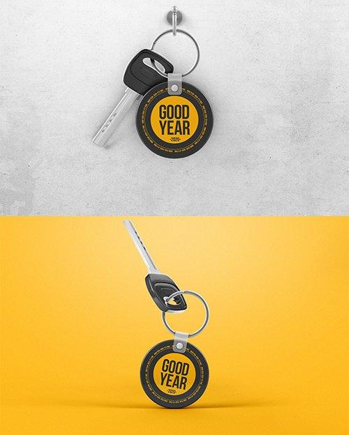 Key with Circle Keychain Hanging Hook Mockup