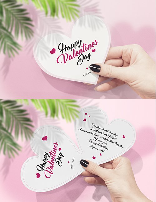 Bifold Valentine Card Hand Mockup