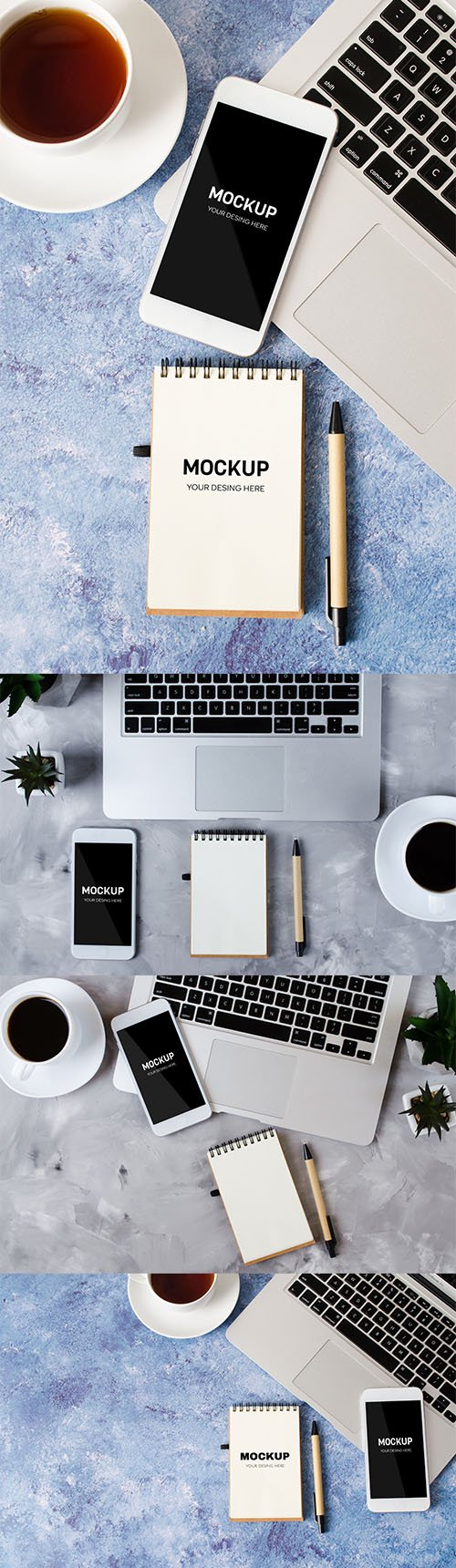 White Smartphone and Screen Office Desk with Cup Coffee PSD Set