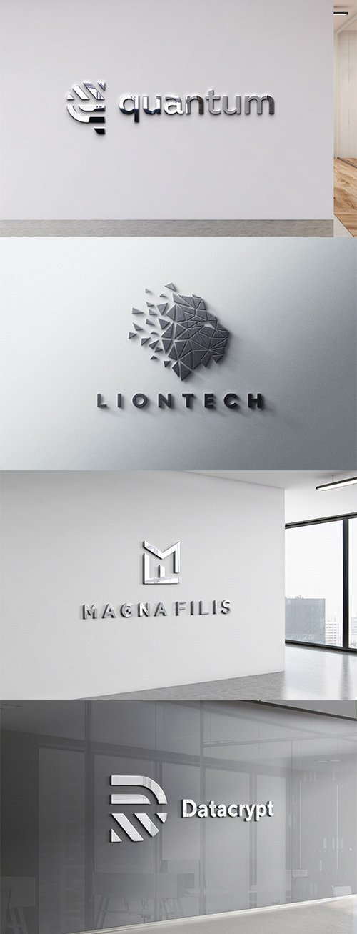 Logo Mockup Wall Office Hall Set