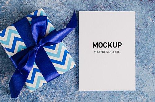 Greeting Card and Gift Box Mockup