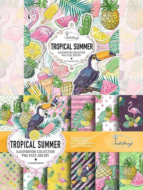 Tropical summer digital paper pack
