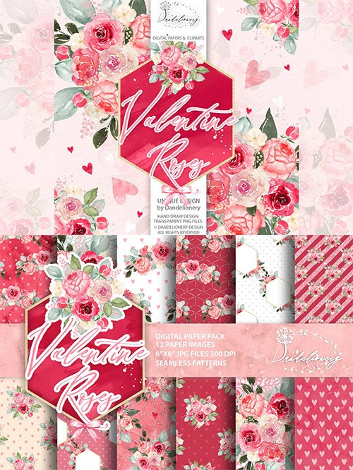 Watercolor Valentine Roses design
