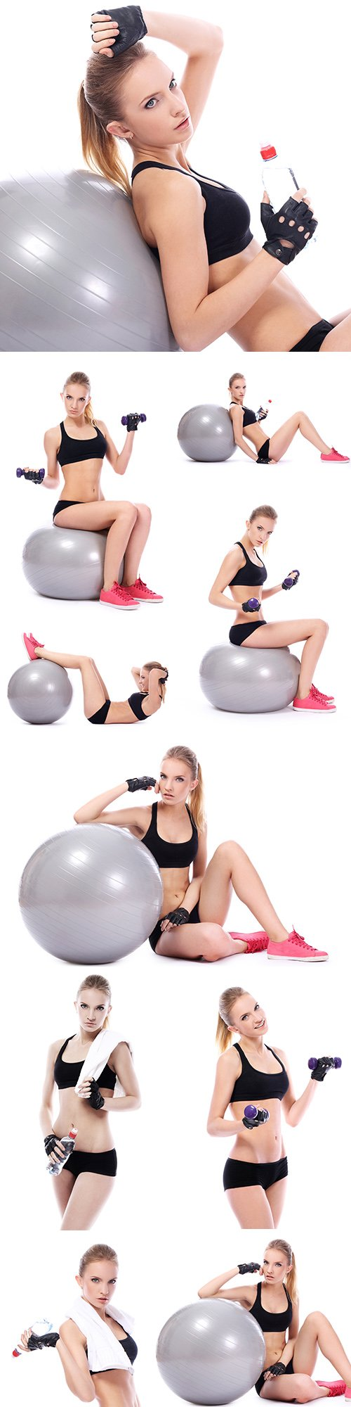 Woman does exercises with gantels on fitness ball