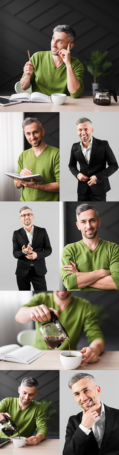 Young man in green shirt in workplace office