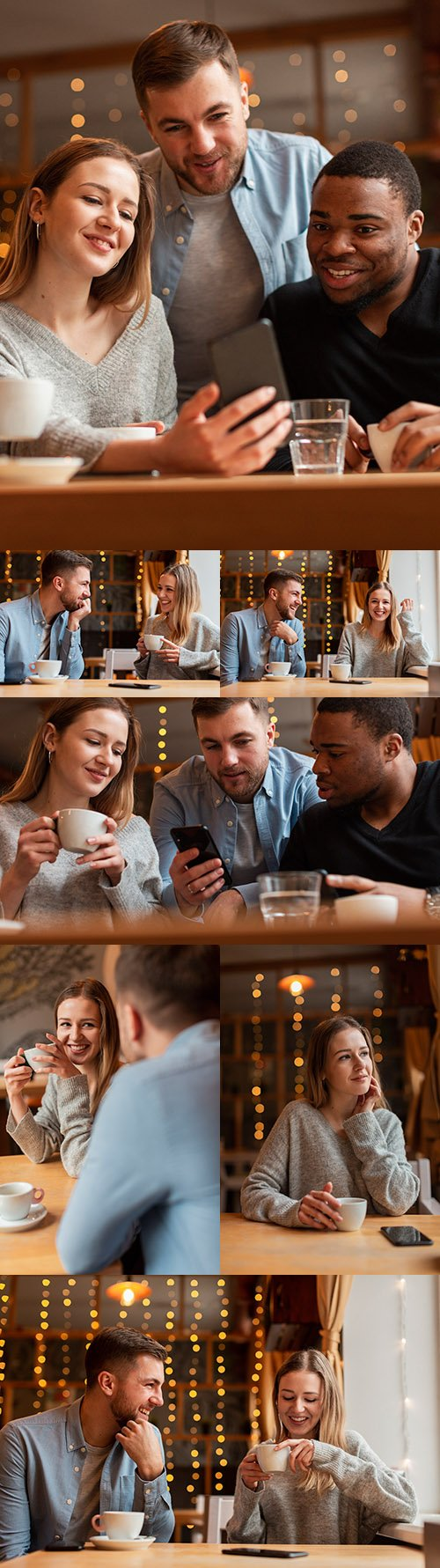 Young friends at restaurant table take selfies