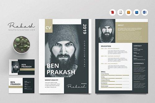 Creative CV Resume & Name Card PSD, DOCX, AI No.30