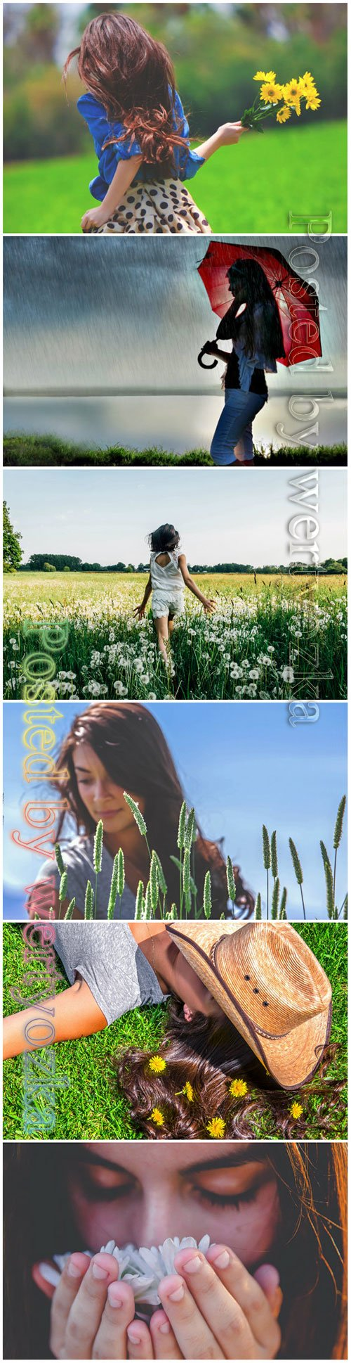 Girls in the nature beautiful stock photo