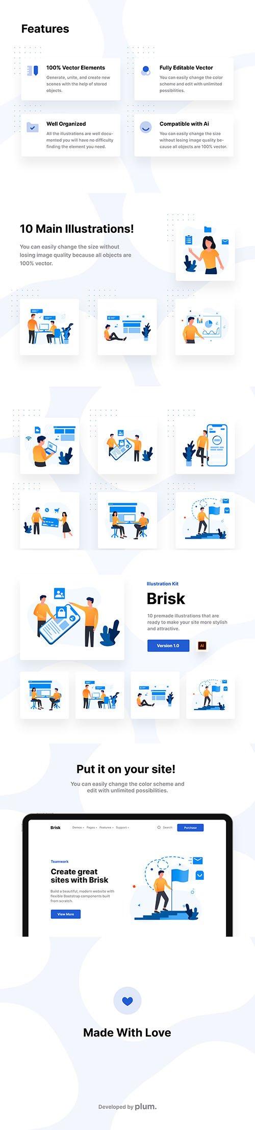 Brisk - Teamwork Illustration Kit