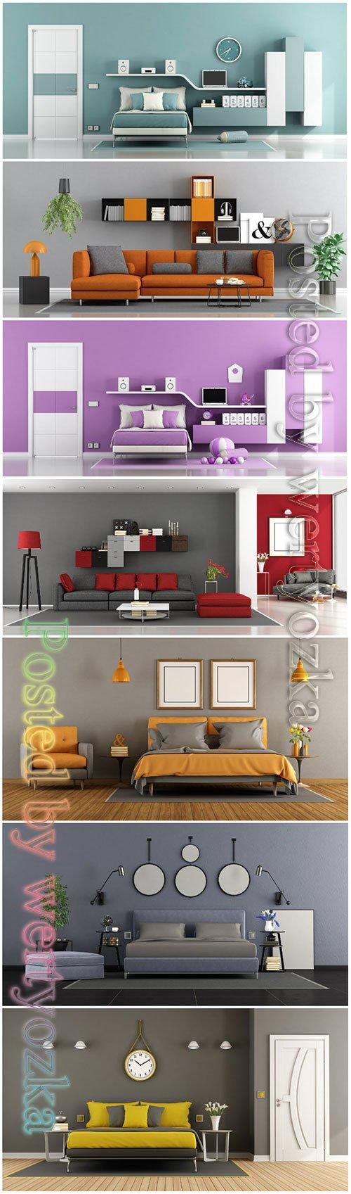 Modern bedroom beautiful stock photo