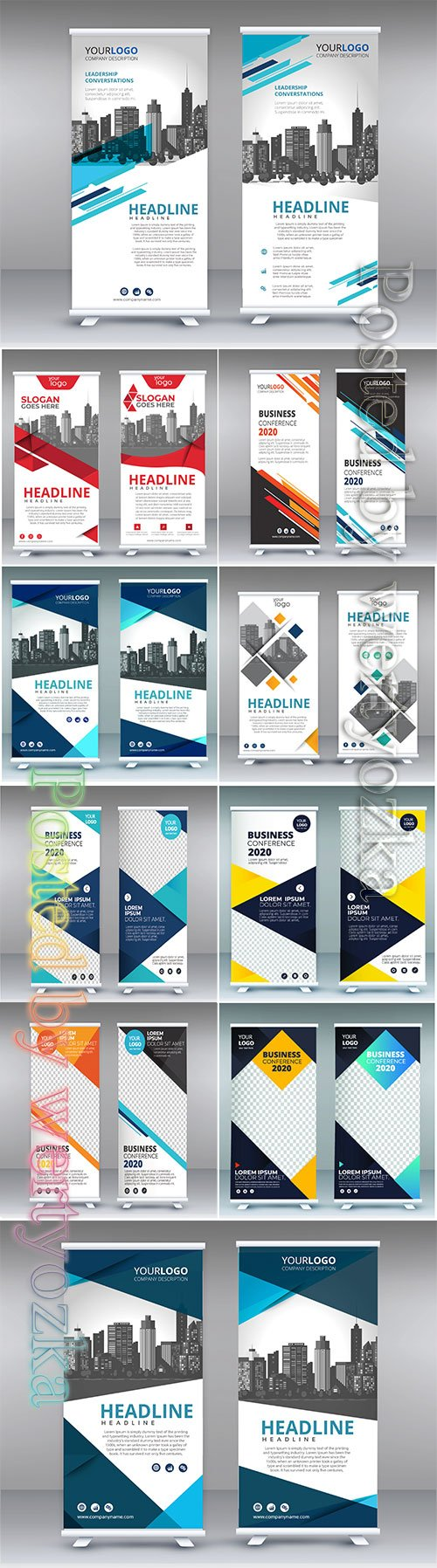 Roll banner vector design template layout