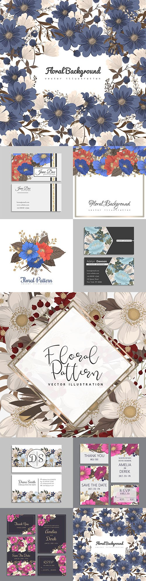 Business cards with flowers and decorative background
