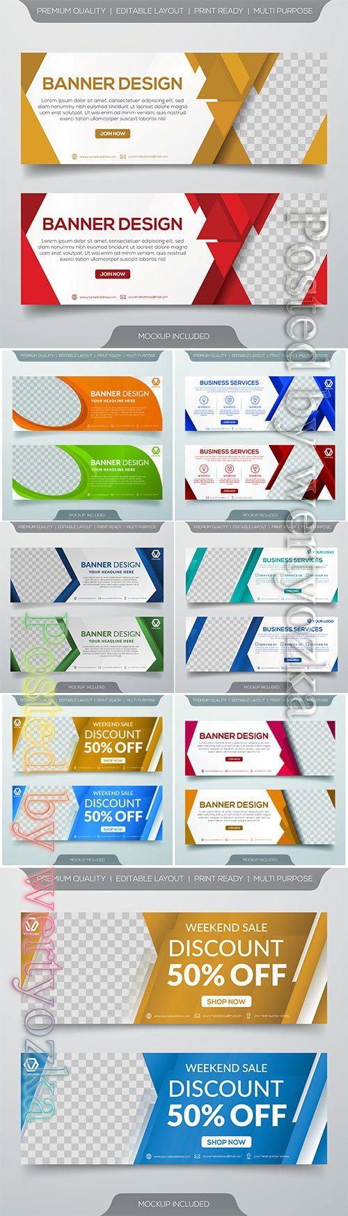 Sale vector banner template design with abstract