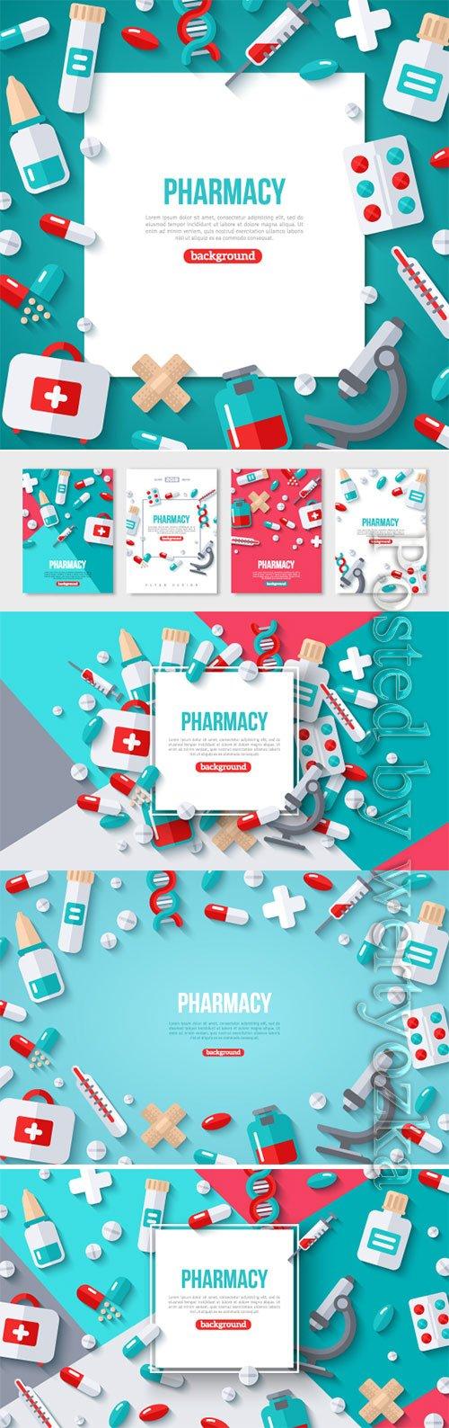 Pharmacy Banner Flat Icons