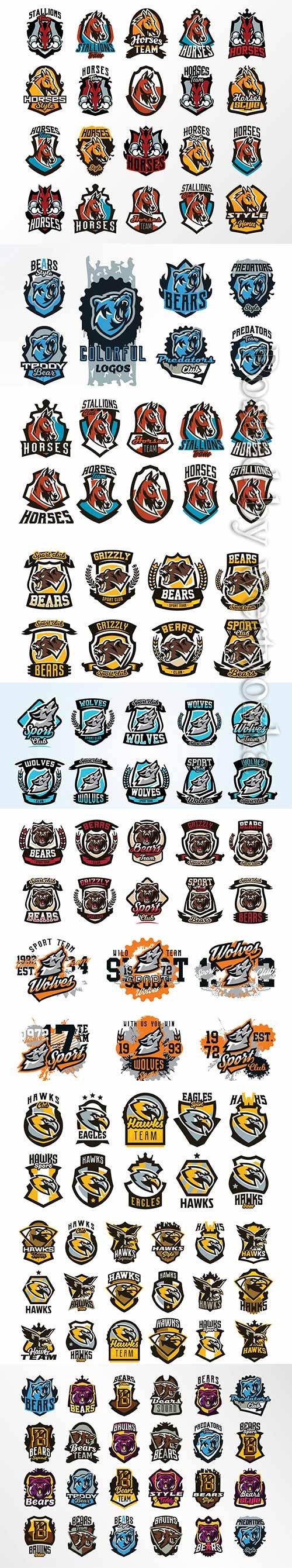 Animals collection of emblems, badges, stickers, logos