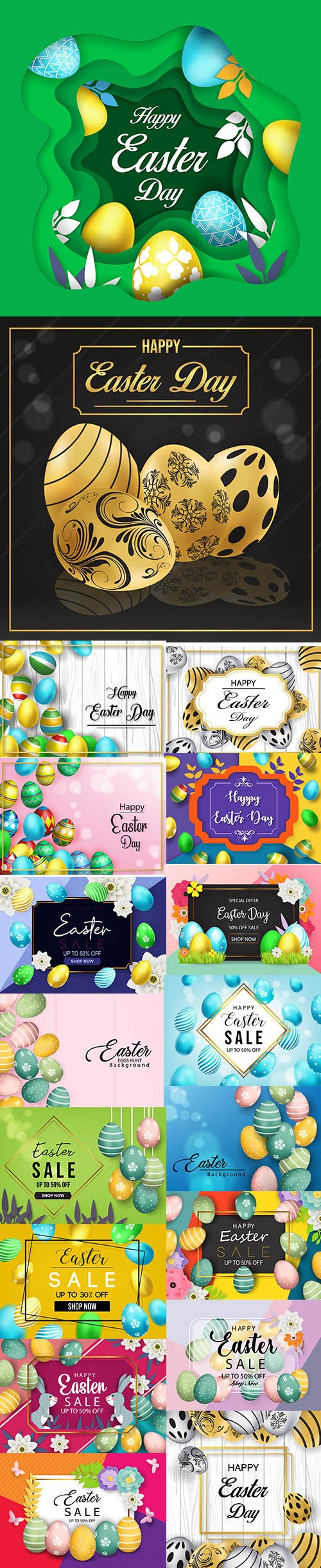 Happy Easter Luxury Backgrounds Template Pack Vol 3