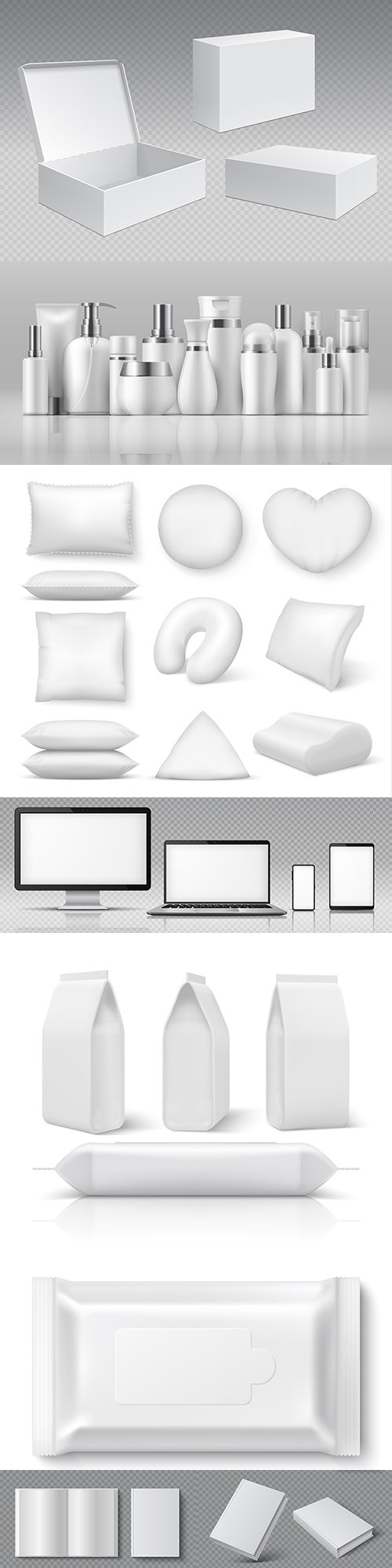 Realistic 3d vector illustrations collection template