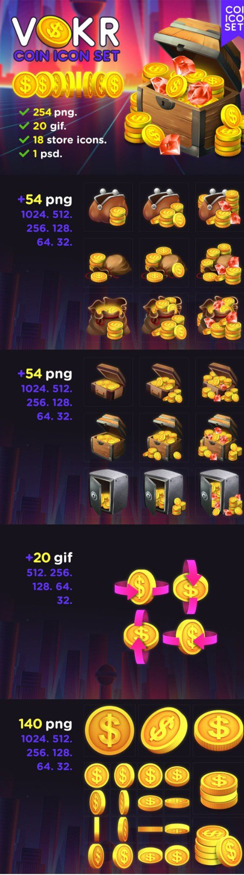 VOKR - Gold Coin with Dollar Sign Icon Pack 1
