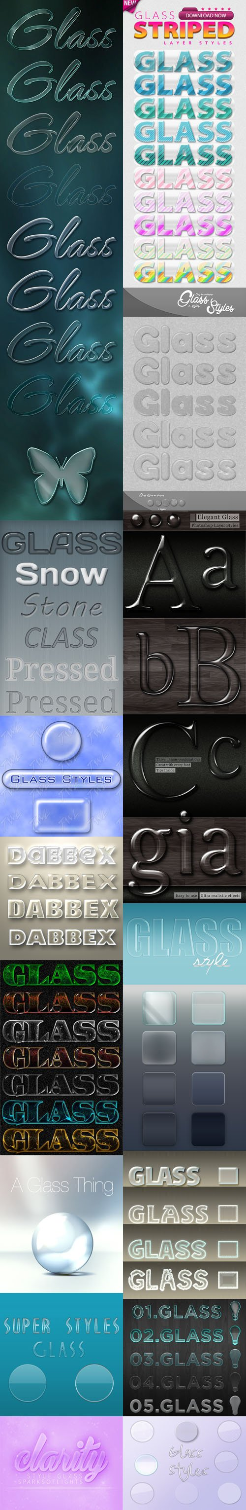 125 Glass & Aero Photoshop Styles Collection