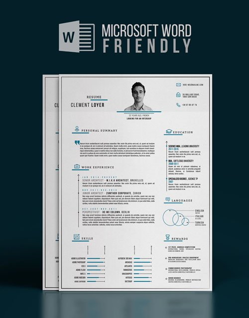 Precise Blue - Word Resume DOCX Template