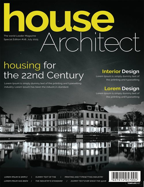 Architecture Magazine Cover Page Vector Template