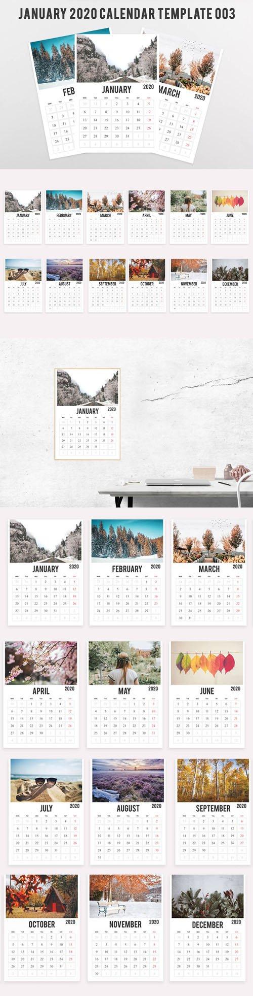 2020 Calendar Printable PSD Template [12-Months]