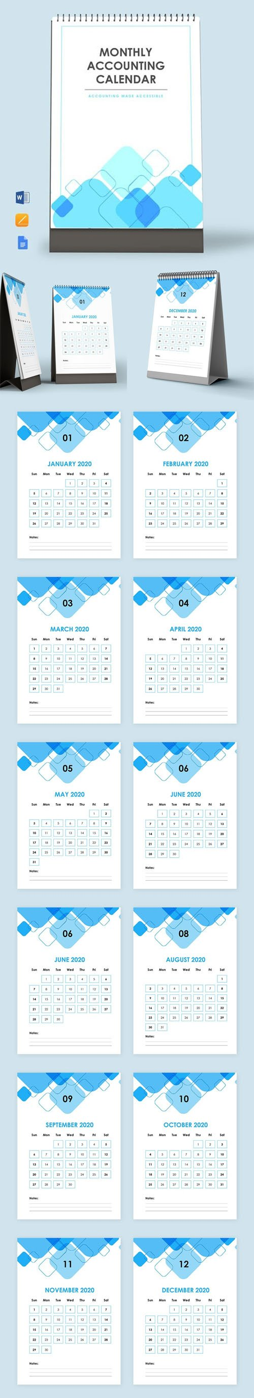 Monthly Accounting Desk Calendar Templates