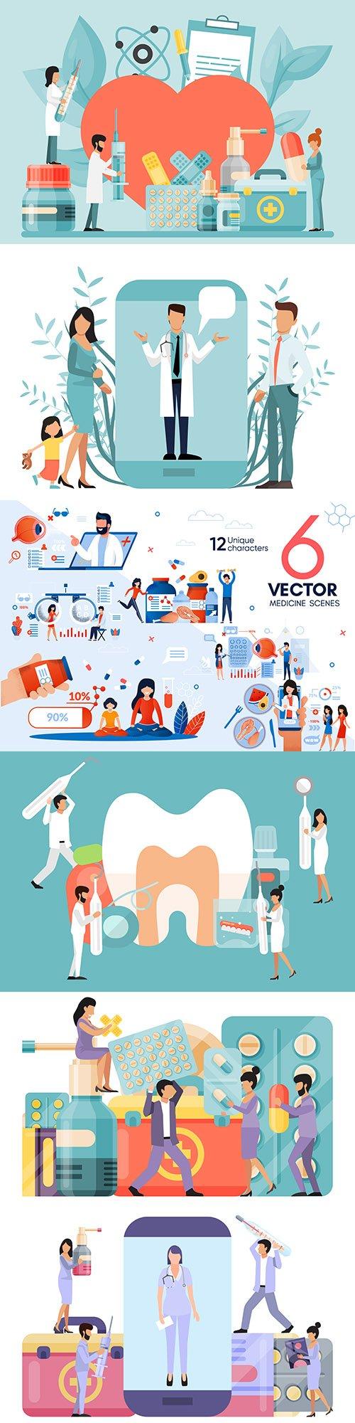Medicine professional doctor and equipment flat design 16