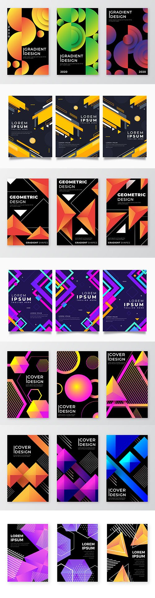Gradient geometric shapes cover dark background
