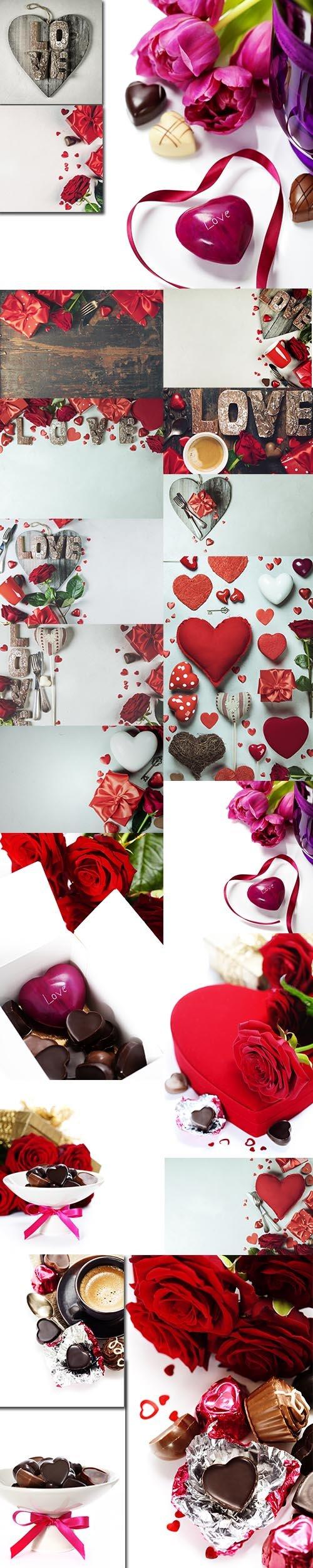 Premium Vector Stock Images Set - Valentines Day Background