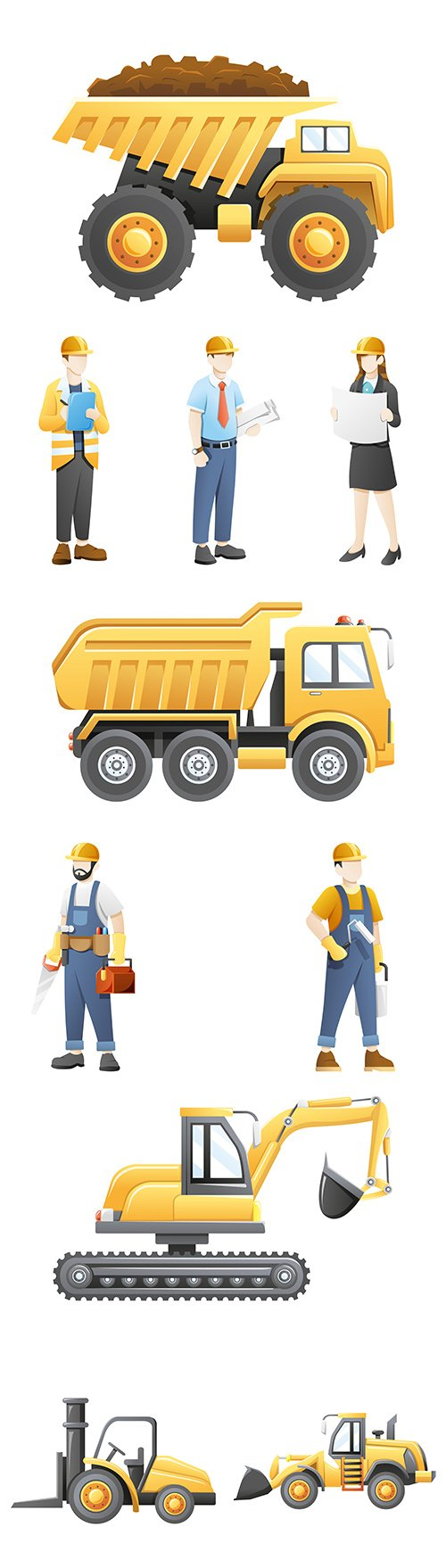 Construction equipment and business people with documents