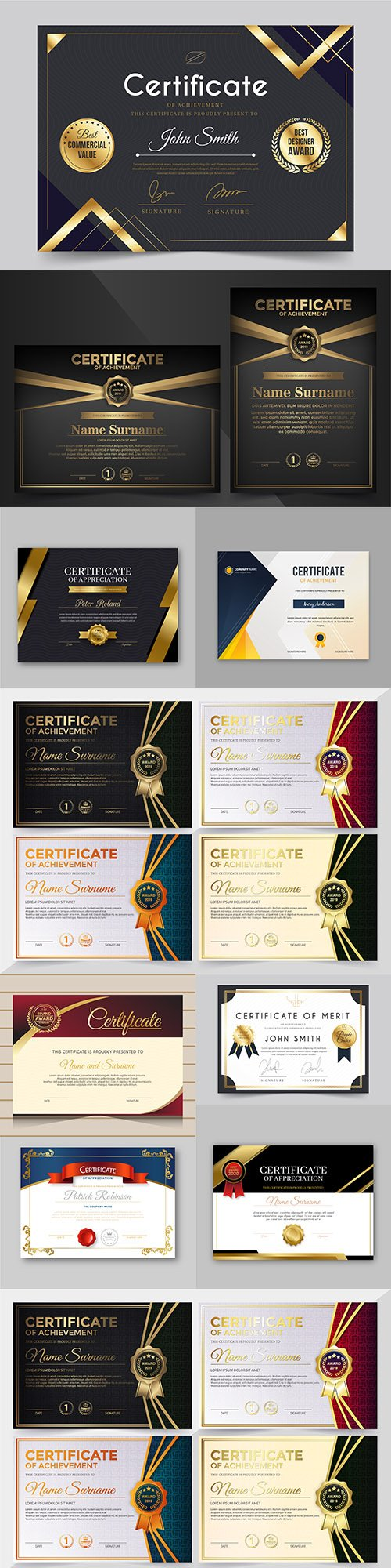Certificate achievement template design collection