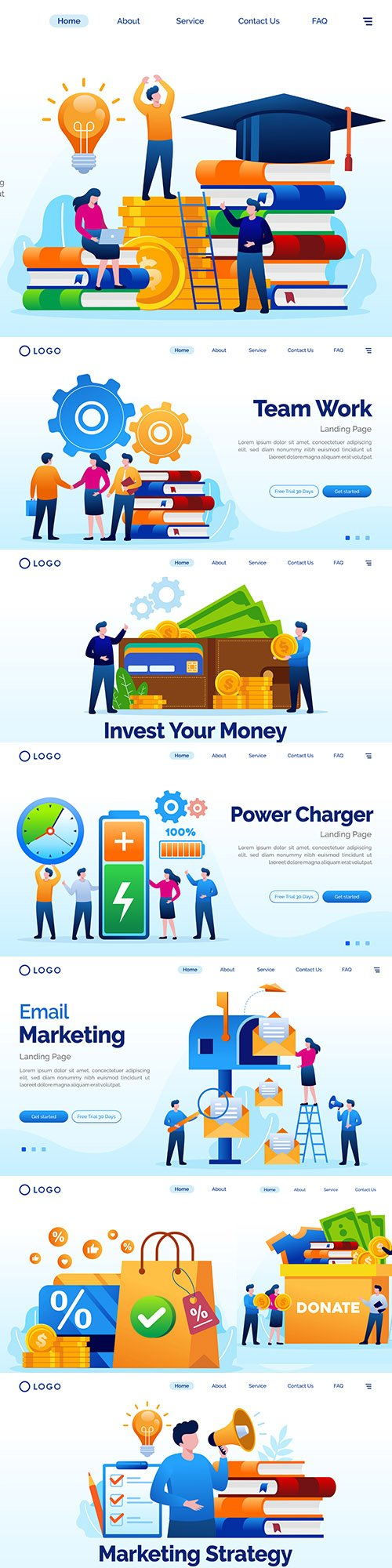 Online marketing and technology flat template illustration