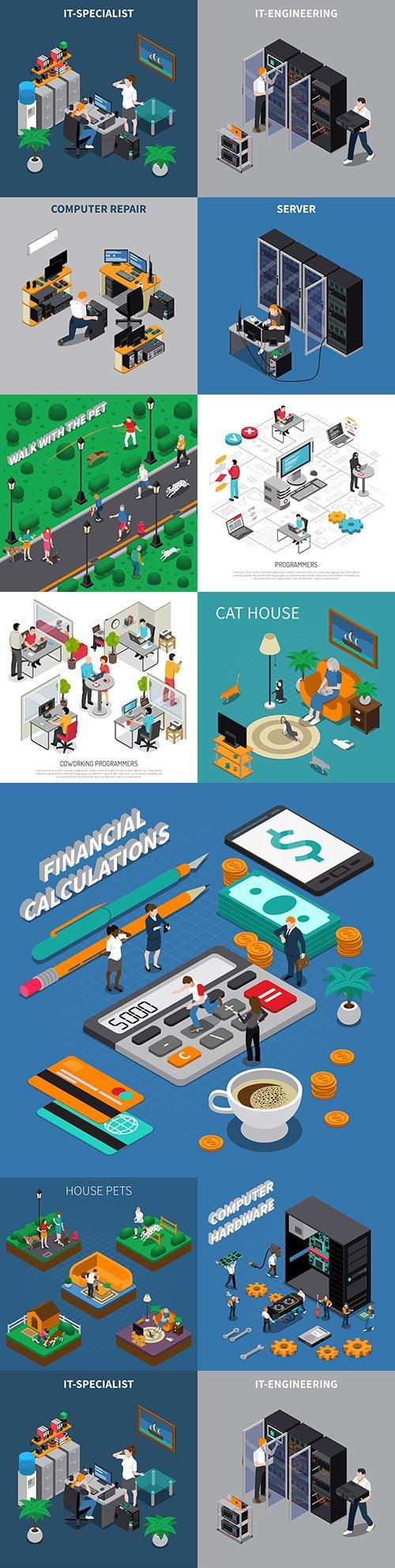 Isometrics flat business technology and people design 17