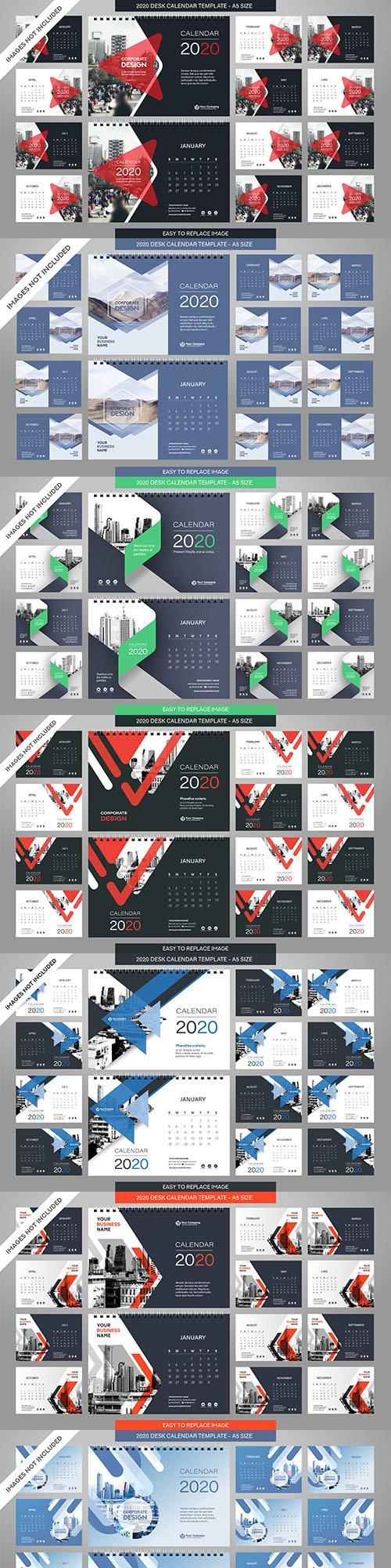 Desktop contemporary calendar 2020 all 12 months complete